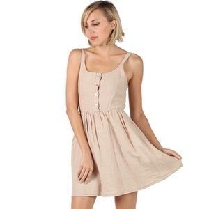 Dresses & Skirts - Smocked Back Button Front Fit Flare Dress Sand